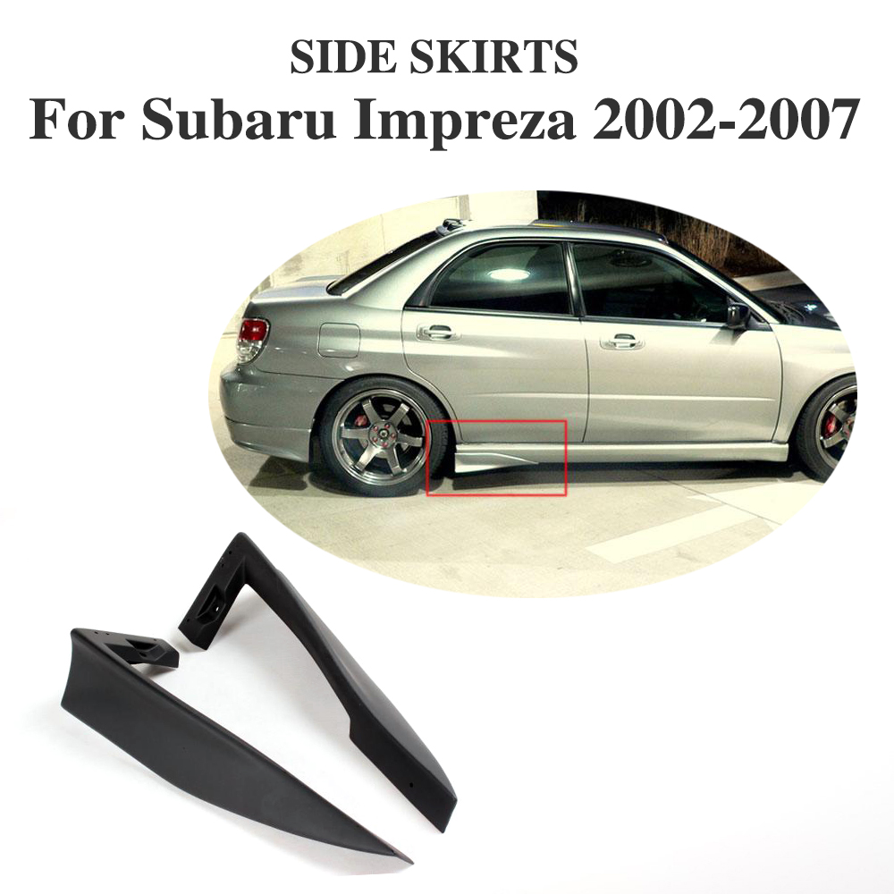 Rear Side Skirts Aprons Covers For Subaru Impreza WRX 2002-2007 PU Unpainted Black 2PCS/Set
