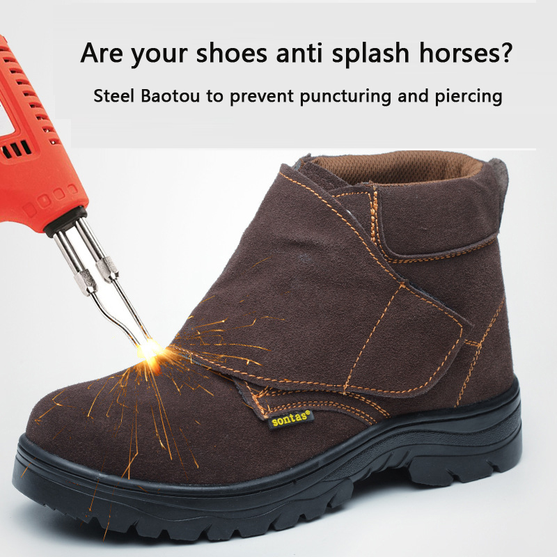 De clase alta protección de seguridad de trabajo de protección contra romper punción prueba genuino duro usando soldadura eléctrica zapatos de seguridad