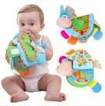 TOP 0-12 Meses Do Bebê Chocalhos Teether Brinquedos Bonito Burro Animais Livro de Pano Para Crianças a Aprendizagem precoce de Brinquedos Educação Presente de natal