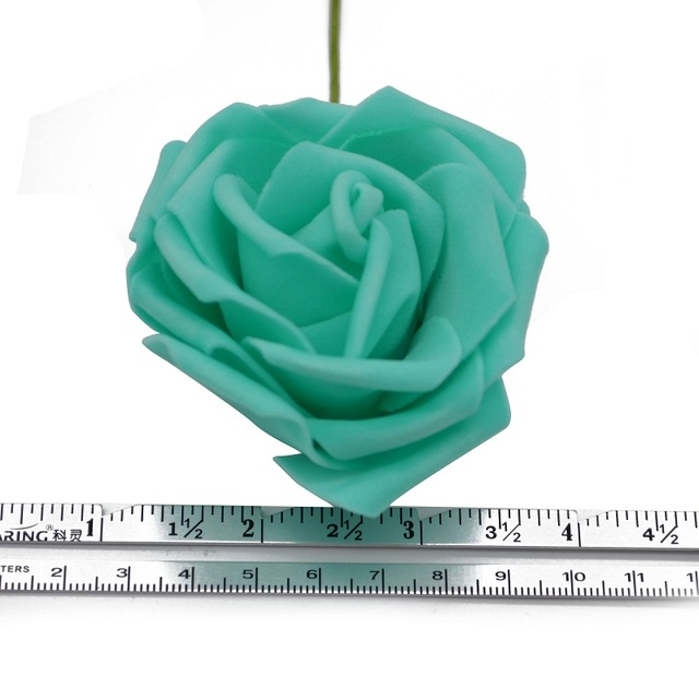 25 Heads 8CM New Colorful Artificial PE Foam Rose Flowers Bride Bouquet Home Wedding Decor Scrapbooking DIY Supplies 5