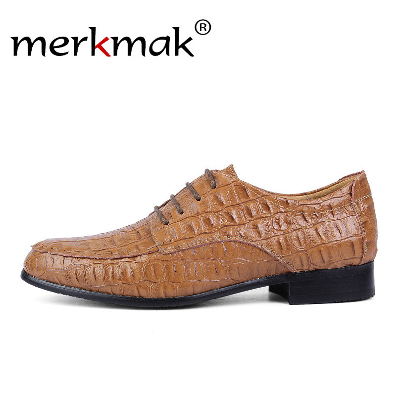 Merkmak Men Dress Formal Shoes Genuine   Leather   Men Shoes For Wedding Party Crocodile Men's Flat Shoes Oxfords Big Size 36-50