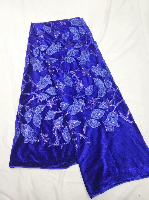 Tissu de dentelle de velours 2018, tissu de dentelle de paillettes brodées, robes de dame africaine de tissu de dentelle de paillettes