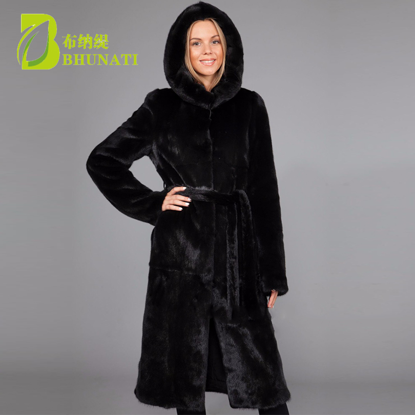 BHUNATI 2018 Winter Fur Coat Long Outwear Faux/imitation Fur with Hooded Coat Warm Clothing With belt Plus Size Women Coats покрывало arloni самотканое 225 x 270 см ткп 102 16arl