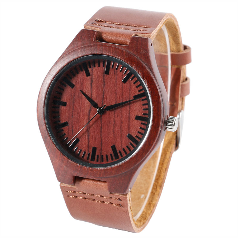 Wood Watch Fashion Analog Natrue Wooden Quartz Watch Genuine Leather Band Ladies Wrist Watch Men Casual