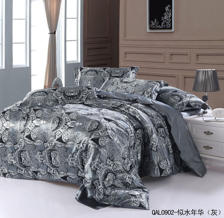 grey silver silk bedding set sheets paisley super king size queen quilt duvet cover bed in a bag. Black Bedroom Furniture Sets. Home Design Ideas