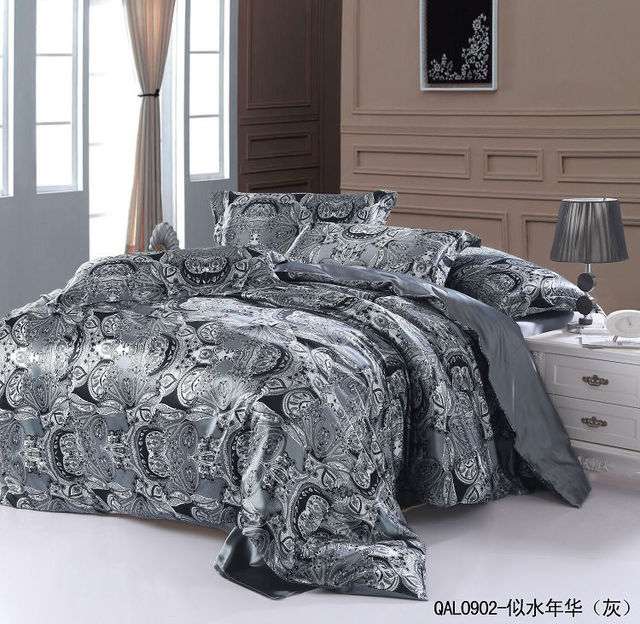 Grey Silver Silk Bedding Set Sheets Paisley Super King Quilt Duvet Cover Bed In