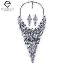 2016 Color Full Hot Crystal Gem Luxury Bridal Jewelry Sets Flower Rhinestone Wedding Maxi Statement Collar Necklace & Pendants