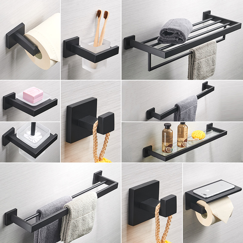 Sus304 Stainless Steel Anodizing Bathroom Shelf Black Finish Bathroom Hardware Sets Towel Bar Wall Mounted Toilet Brush Holder brand new toilet brush for cleaning black color with stainless steel wall mounted brush holder chromed finish