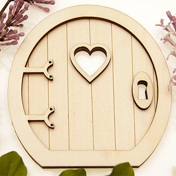 6pcs 3d wooden fairy garden door craft embellishments for Wooden fairy doors to decorate