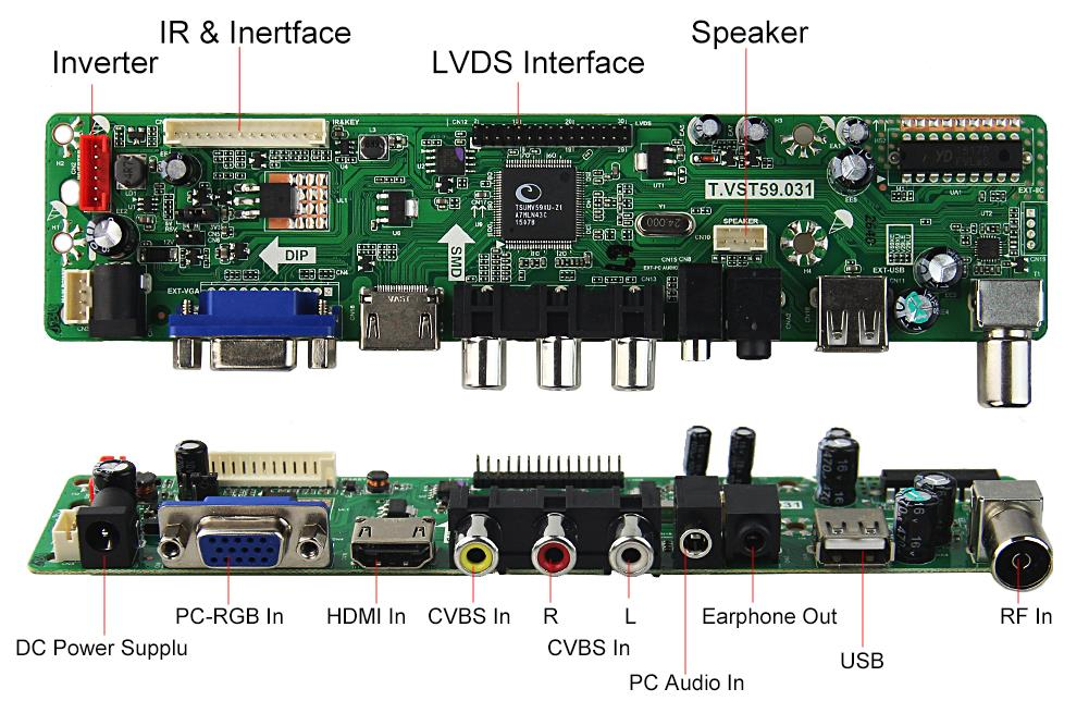 T.VST59.03 For LP133WX3-TLA5 LCD controller Driver Board TV+HDMI+VGA+CVBS+USB
