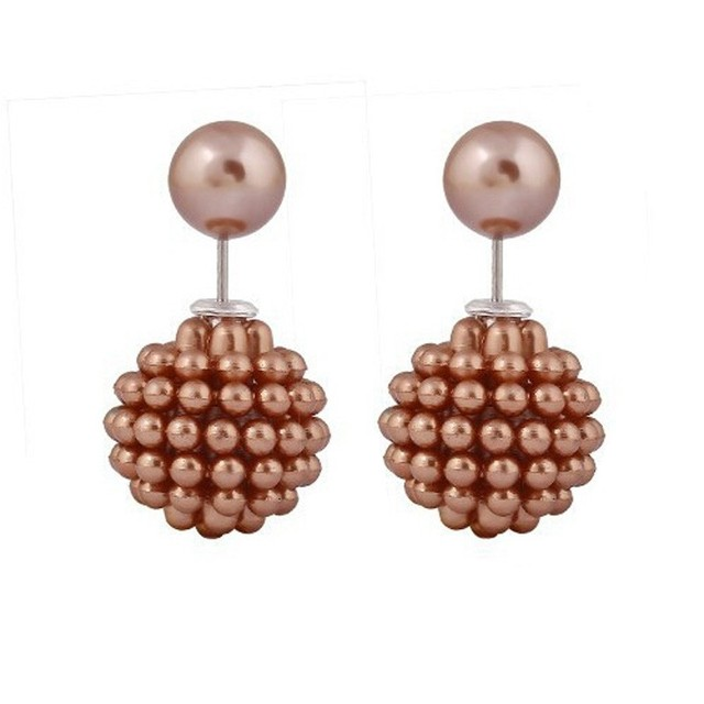 Full Small Beads Double Sides Lovely Best Gifts For Ladies Five Colors Ball  Stud Earrings Jewelry Wholesale P112900