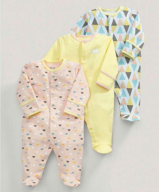 3Pcs Baby Cotton Sleepsuit