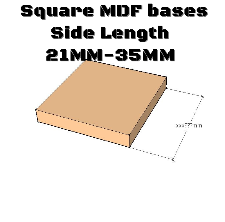 20x Square MDF Bases - Custom Round Bases- Basing Laser Cut Wargames Wood