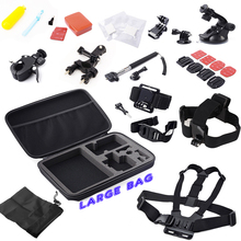 For gopro Accessory Set + Kit Chest +Head Strap+Floating Grip + Monopod + Case Chest Strap for GoPro Hero 2 3 3+ 4 for xiaomi yi