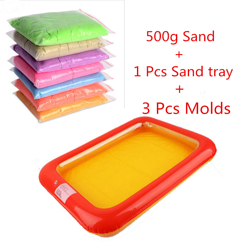 2017Free Shipping 500g/bag Kinetic Mars Space Sand And 1 Pcs Inflatable Sand Tray Beach Motion  kinetic Magic Super dynamic Sand