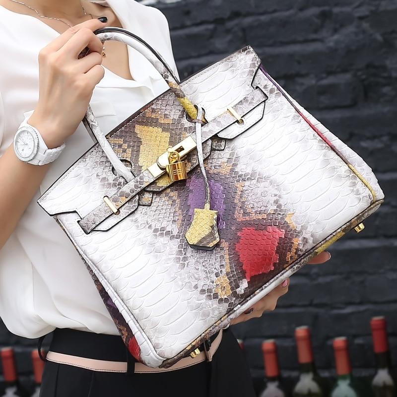Luxury Brand Genuine Leather Snake Bags For Women Shoulder Messenger Casual Tote Bag Hobos Handbag With Platinum Lock Key