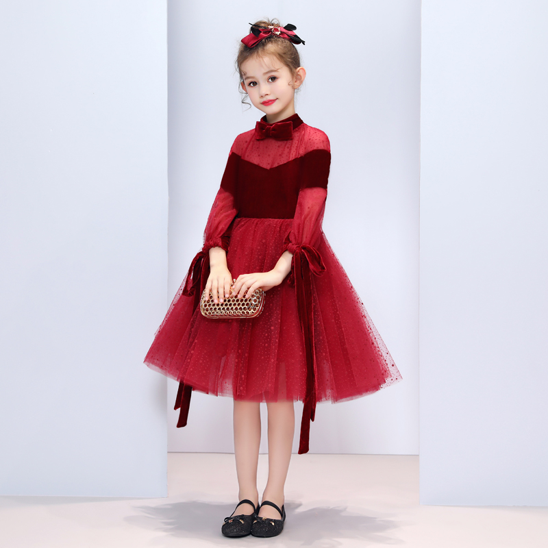 Vestiti Da madre Figlia del Vino di Velluto Rosso di Velluto Disegno Famiglia di Corrispondenza Abito Da Sposa per la Mamma e Figlia Vestito Da Festa Di Compleanno - 4