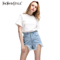 TWOTWINSTYLE 2017 Summer Women Pearl Bead Short Sleeve T Shirts Tops Casual White Black Basic Tee