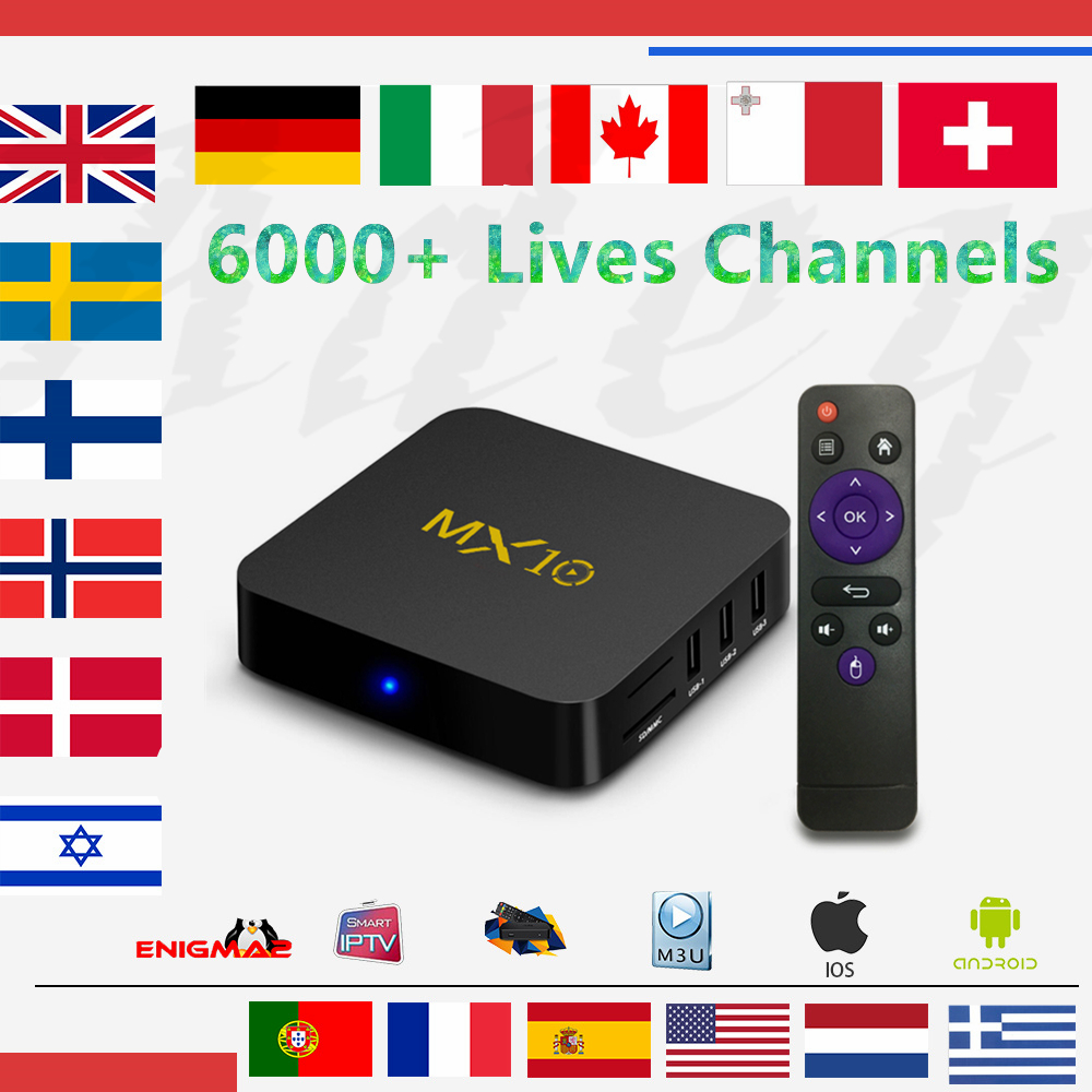 цена IPTV Box MX10 Android TV Box 8.1 4GB/32GB With1 year Europe iptv subscription French Spain Italy Dutch livetv for smart tv box