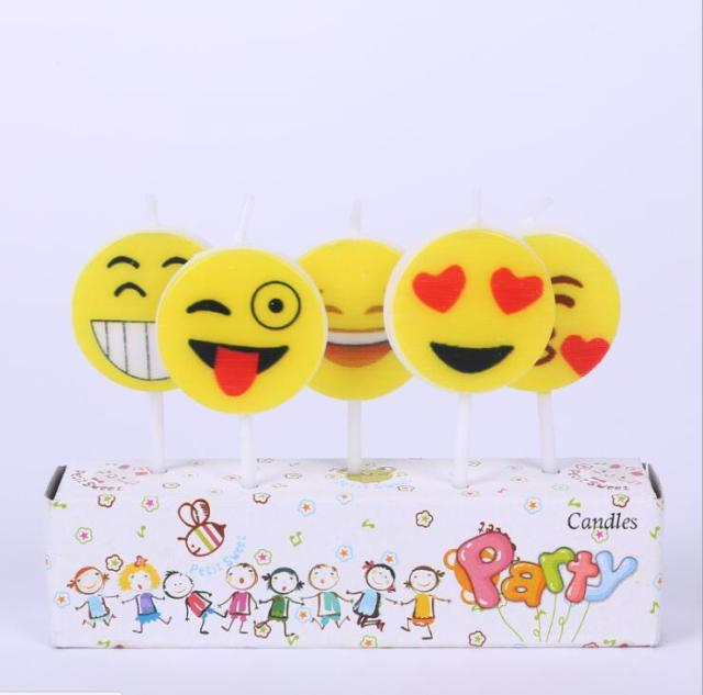 5 Set Cartoon Emoji Baby Shower Decoration Candles Cupcake Candle Birthday Party Supplies