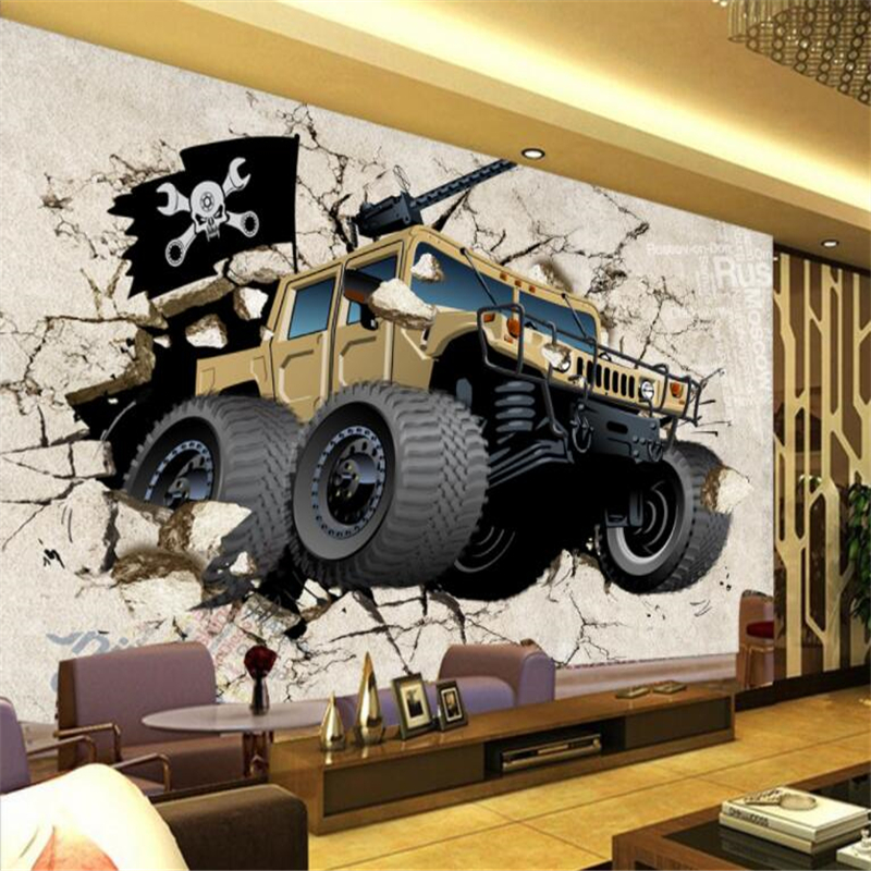 beibehang Custom picture large mural retro car broken wall 3D personalized wallpaper wallpaper TV background wallpaper