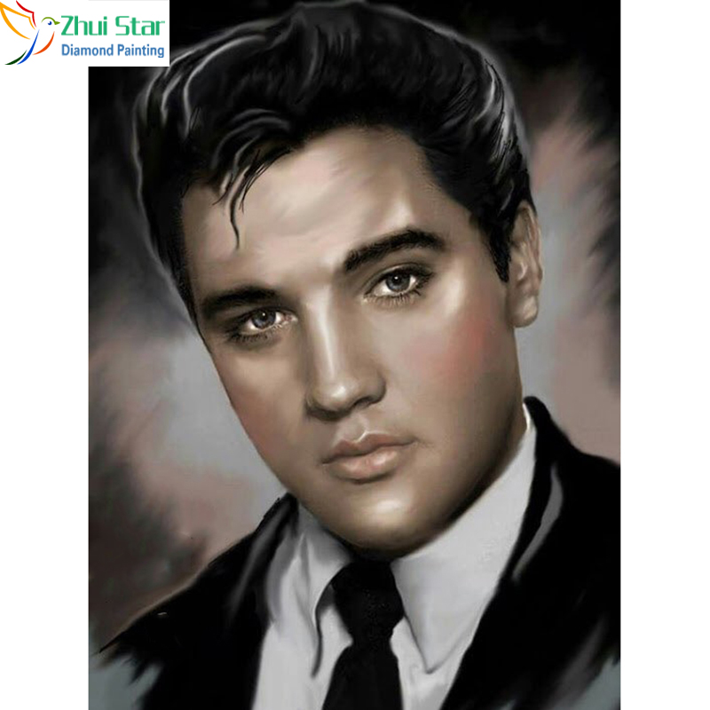 Zhui Star 5D DIY Full Square drill Diamond Painting Cross Stitch Elvis Presley Diamond R ...