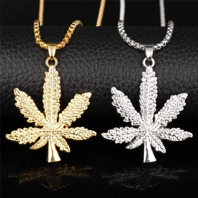 ROMAD 2018 New Maple Leaf Pendant <font><b>Necklace</b></font> Women Men Hip Hop Silver Gold <font><b>Cannabiss</b></font> Small Weed Herb Charms Jewelry collares R4 image