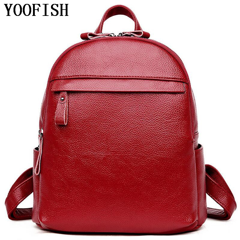 YOOFISH  Fashion Genuine Leather Travel Girls Backpack Youth Women Mochilas Feminina School Bags For Teenagers bag  LJ-898 2016new rucksack luxury backpack youth school bags for girls genuine leather black shoulder backpacks women bag mochila feminina