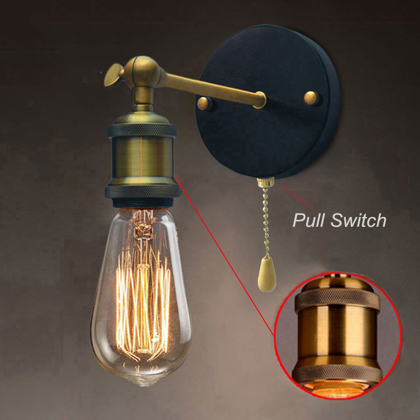Us 10 76 Off Pull Chain Switch Loft Adjule Metal Vintage Wall Light Edison Retro Lamp Country Style Sconce Fixtures In