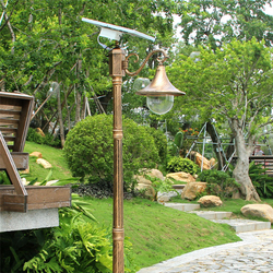 Giardino pole HA CONDOTTO LA lampada della luce di via solare di paesaggio della decorazione della e vintage lanterna impermeabile