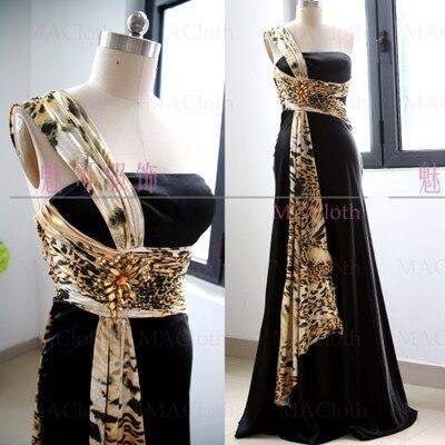 MACloth Black A-Line One Shoulder Floor-Length Long Crystal 0   Prom     Dresses     Dress   L 261273 Clearance