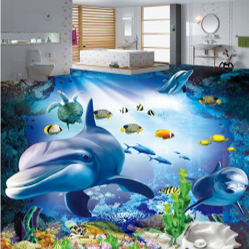 Free Shipping self-adhesive PVC floor wallpaper Underwater World Turtle Dolphin 3D Stereo floor Painting mural