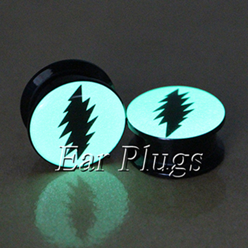 1 pair glow in dark flash logo ear plug gauges tunnel acrylic screw flesh tunnel body piercing jewelry