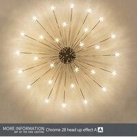 Starry Sky stars LED Ceiling Lights Light Modern Round Crystal Glass 21/28 Heads Stars Lamps Bedroom Living Room Fixtures