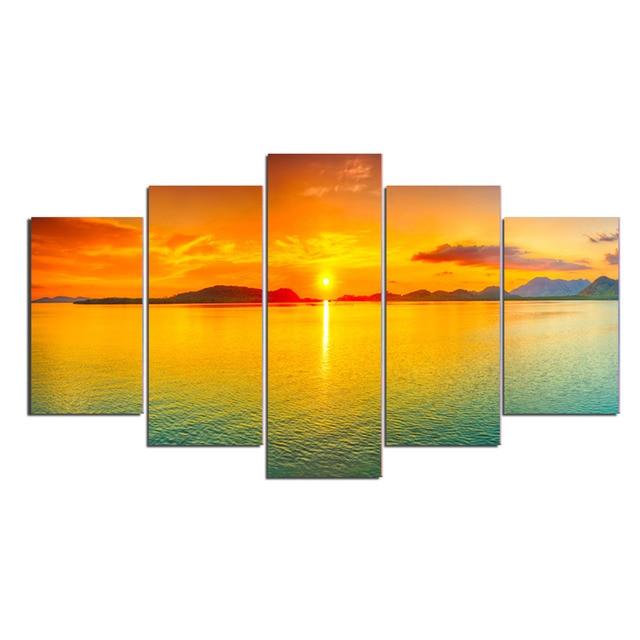 Aliexpress.com : Buy 5 Panels Sunrise In Golden Glow Seascape Canvas ...