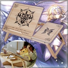 Anime Fate Grand Order FGO Jeanne d'Arc Laptop Notebook Desk Portable Folding Wood Adjustable Desktop Books Bed Lazy Table Gift(China)