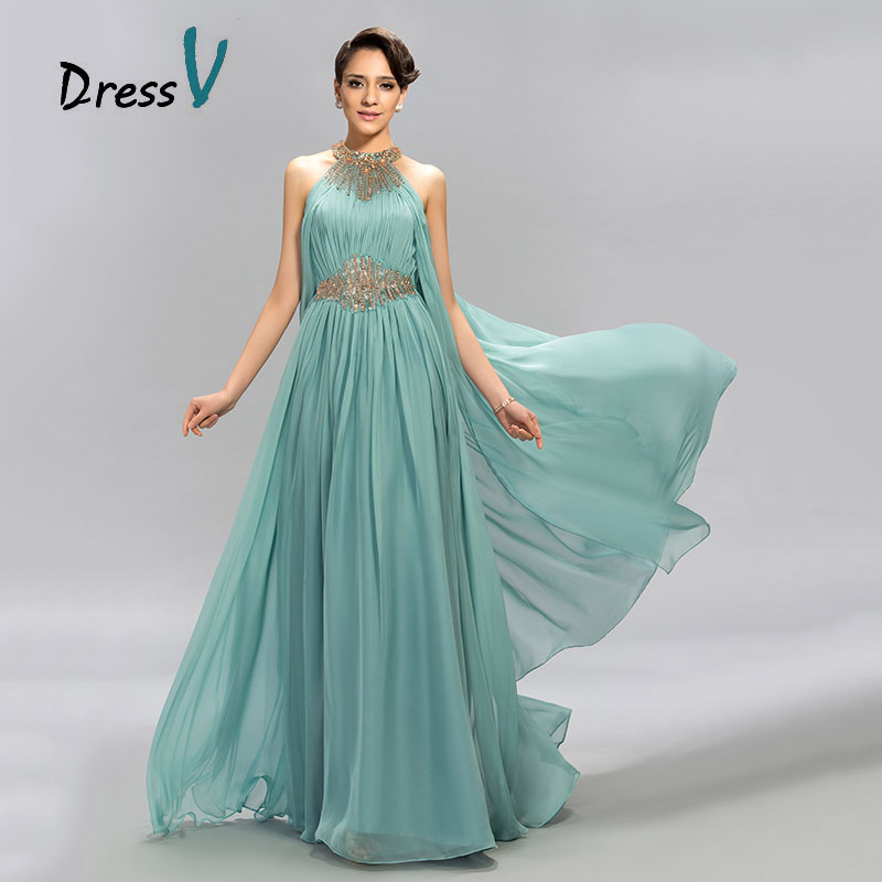 DressV Mint Blue Jewel Ausschnitt Chiffon Langes Abendkleid A-Line Bodenlang Perlen Rüschen Ballkleider Formelles Abendkleid