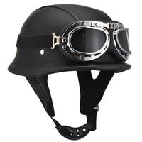 Fashion WWII Style German Motorcycle Half Helmet with Goggles Chopper Biker Pilot Padded Motorcycle Bike Flight Half Helmet