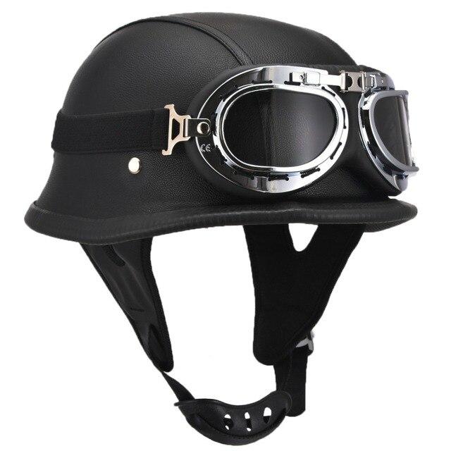 Moda Estilo DA SEGUNDA GUERRA MUNDIAL Alemão Chopper de Motocicleta Meio  Capacete com Óculos de Proteção 4079314626