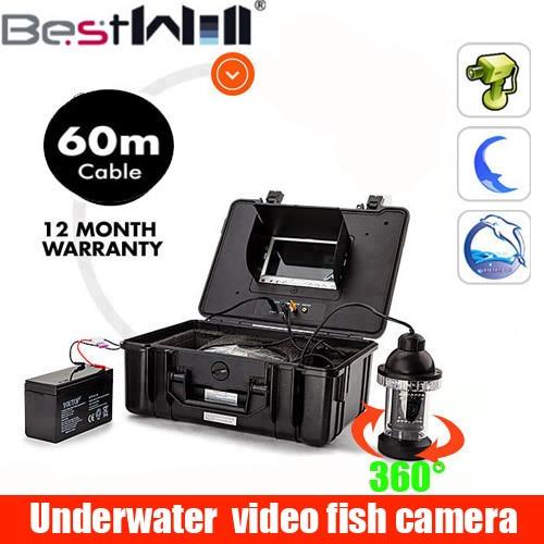 7 ''subacquea Fish Finder 60 m Cavo sottomarino video Luce Della macchina fotografica Controllabile di Visione Notturna Visivo Della Macchina Fotografica Per La Pesca