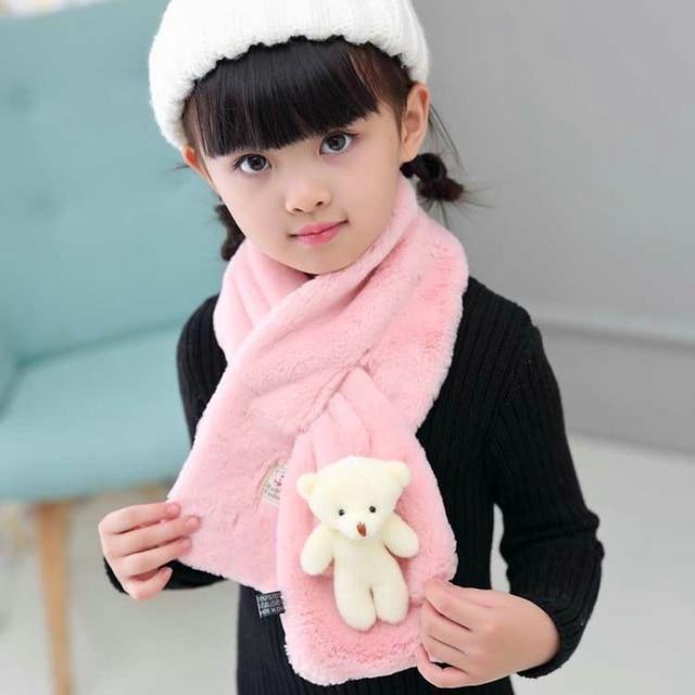 Детский Теплый зимний шарф с кольцом в форме перекрестка, милый объемный мультяшный медведь, имитация кролика, меховой воротник, шарфы для мальчиков и девочек