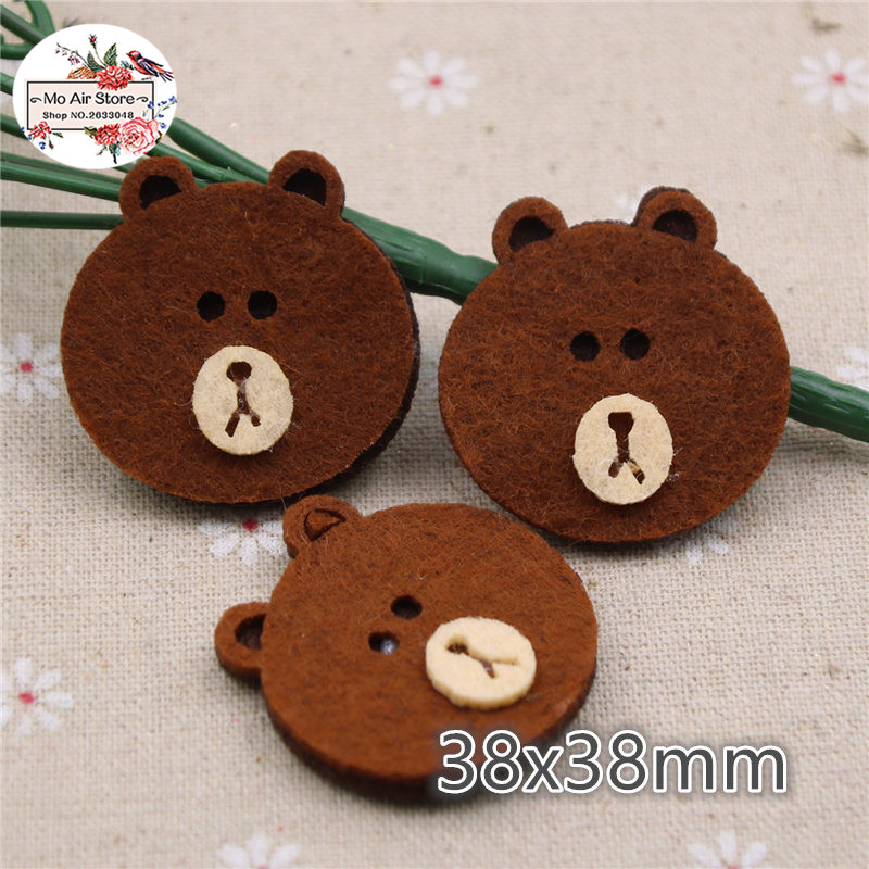 10pcs 38mm bear Non-woven patches glitter <font><b>Felt</b></font> Appliques for clothes Sewing Supplies image