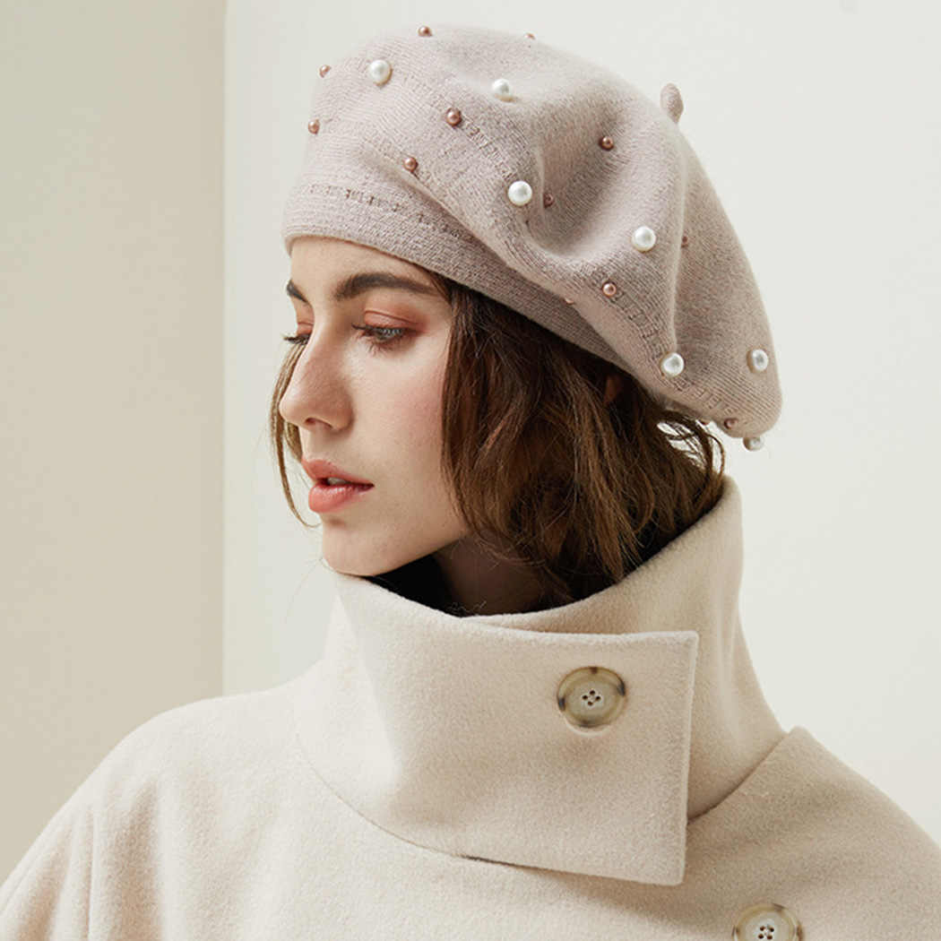 Vintage Women Wool Knitted French Pearl Beret Hats Ski Caps Warm Winter Girl Sweet Painter Hat Beanie Bonnet Femme Gorras