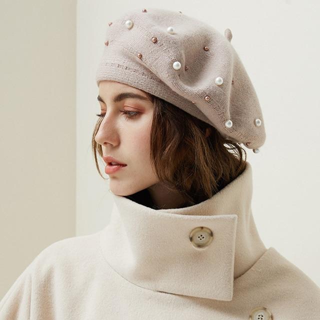 Vintage lana calcetines de la rodilla de las mujeres francés de boina sombreros gorros de esquí de invierno cálido chica dulce pintor sombrero mujer Gorras