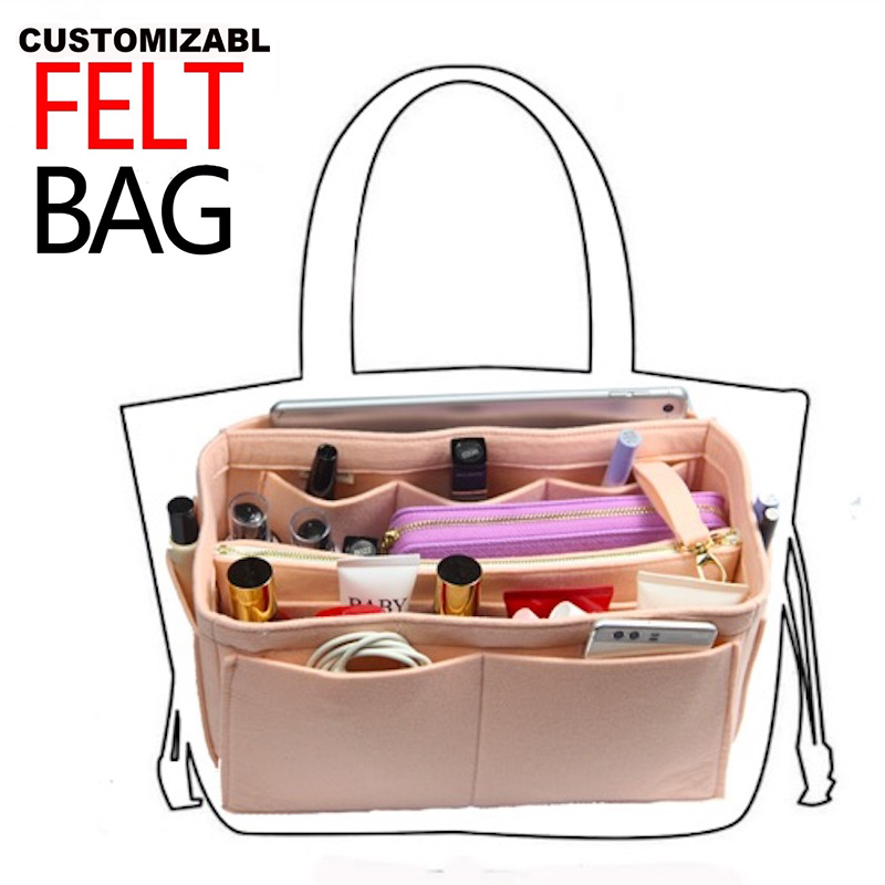 29a83e24ff56 Customizable Felt Insert Bag Organizer Purse Organizer Handbag Bag in Bag  for Speedy Neverful(w/Detachable Zip Pocket) -in Cosmetic Bags & Cases from  ...