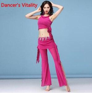 Image 5 - Trajes de danza del vientre a la moda para mujer 2 uds top + Pantalones para niñas horquilla pantskirt ropa de bailarina Latina