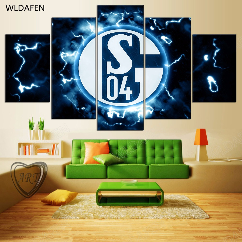 5 Pieces Sports Team Deco Fans Posters Oil Painting On Canvas Modern Home Pictures Prints Decor Living Room PH4-1907