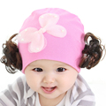 TDX C40 Baby wig hat flower baby princess hat female child autumn thermal 100% cotton pocket hat
