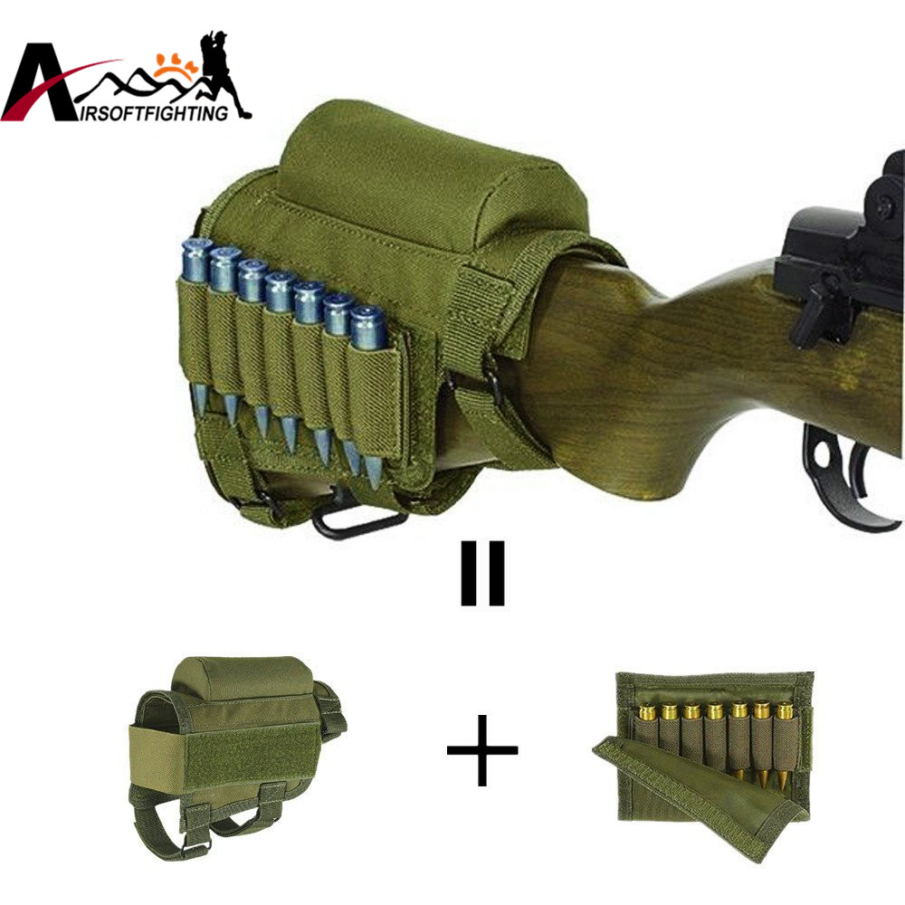 Tactical Crown Cheek Rest w/ Cartridge Holder Ammunition for. 300. 308 Winmag Adjustable Rifle Butt Stock Shell Ammo Carrier