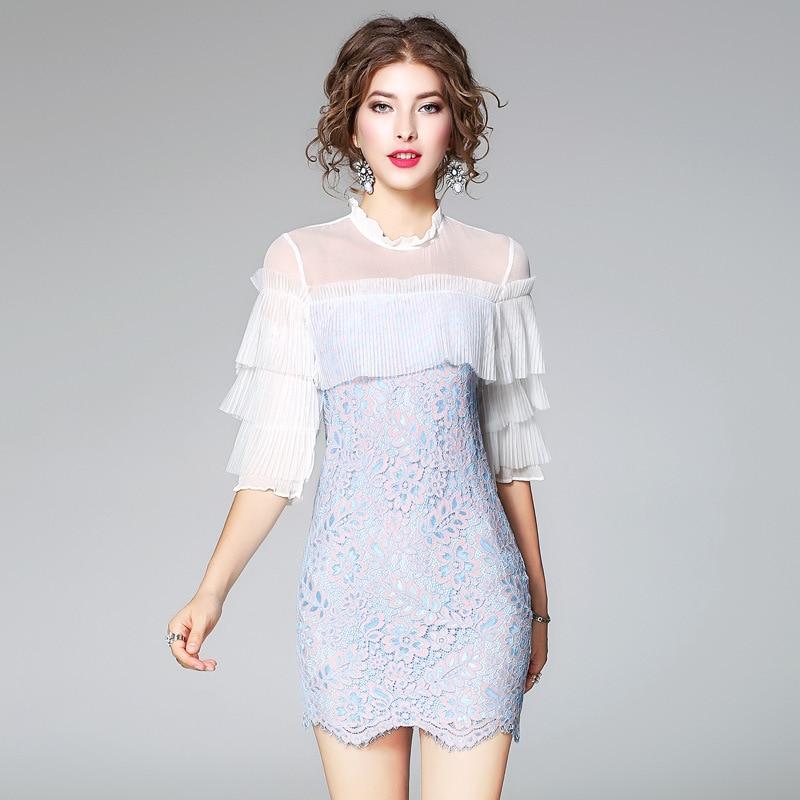 Pour Doux 2018 Haut Color Femmes Robe Femme New Manches Dentelle Robes D'été Summer Gâteau Picture De Gamme XP0wO8nk